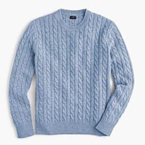 Men's J. Crew Blue Crewneck Cable Knit Sweater